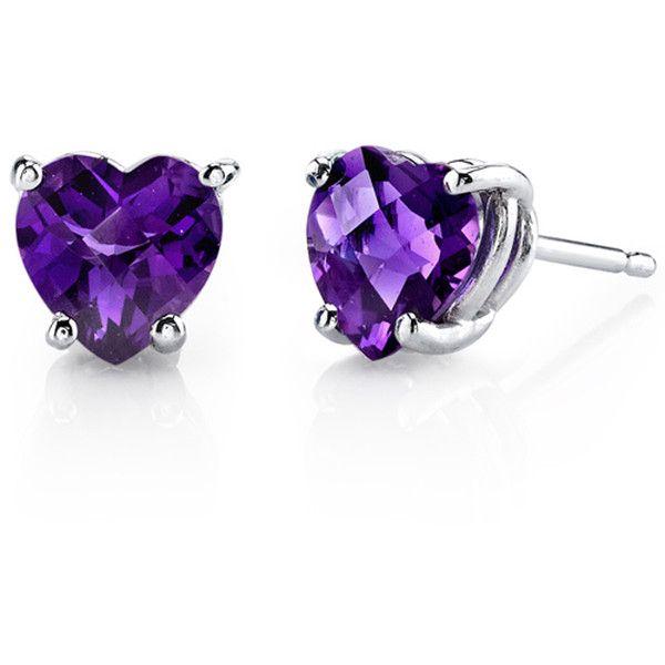 Oravo 14k White Gold Heart Cut Gemstone Stud Earrings 195 Nzd Liked