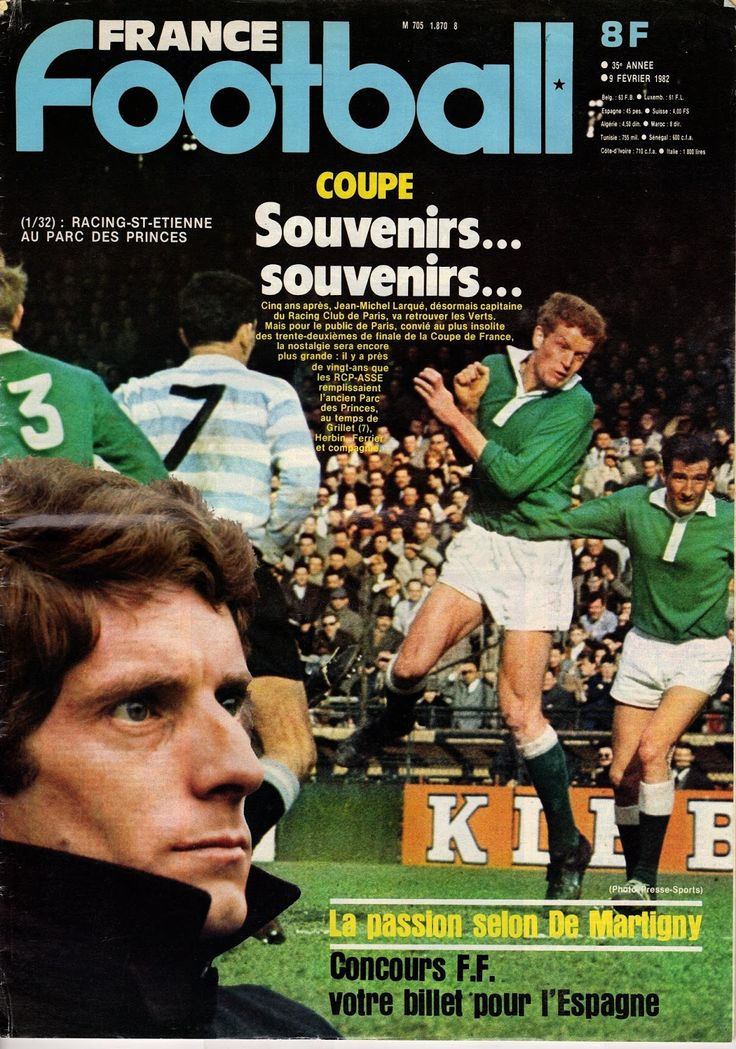 France Football magazine in Feb 1982 featuring Racing Paris v St Etienne on the cover.