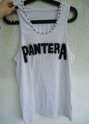 Kup mój przedmiot na #vintedpl http://www.vinted.pl/damska-odziez/koszulki-na-ramiaczkach-koszulki-bez-rekawow/4620964-wyprzedaz-pantera-band-zespol-diy-bluzka-cwieki-biala-z-zespolem-oversize