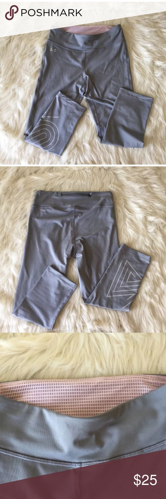 Women's medium gray athletic Under Armour tights Gray and white reflective Under Armour athletic tights. Size Medium women's. Pocket it back waist band top. In excellent condition Under Armour Pants Track Pants & Joggers