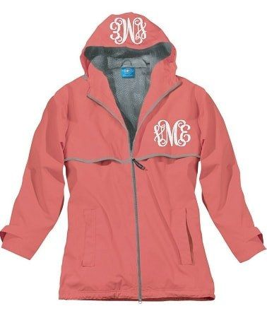 Monogrammed New England Rain Jacket-Coral
