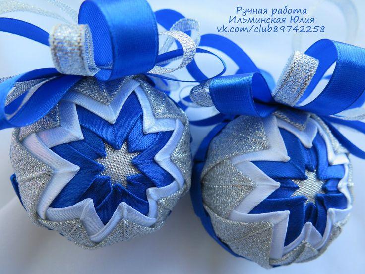 Новогодние сине-серебряные шары
