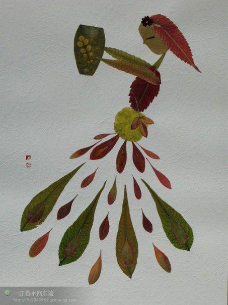 Аппликации из листьев   56 фотографий