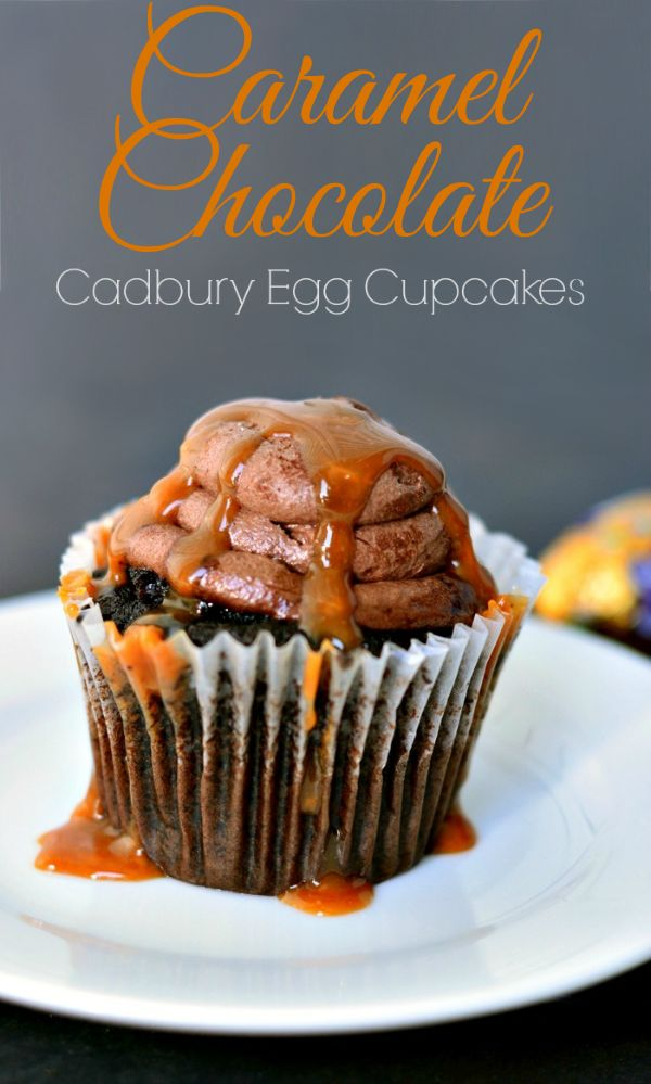 Caramel Chocolate Easy Cupcake Recipe - a caramel-filled chocolate cupcake dripping with Cadbury Caramel Egg flavor. It tastes amazing!
