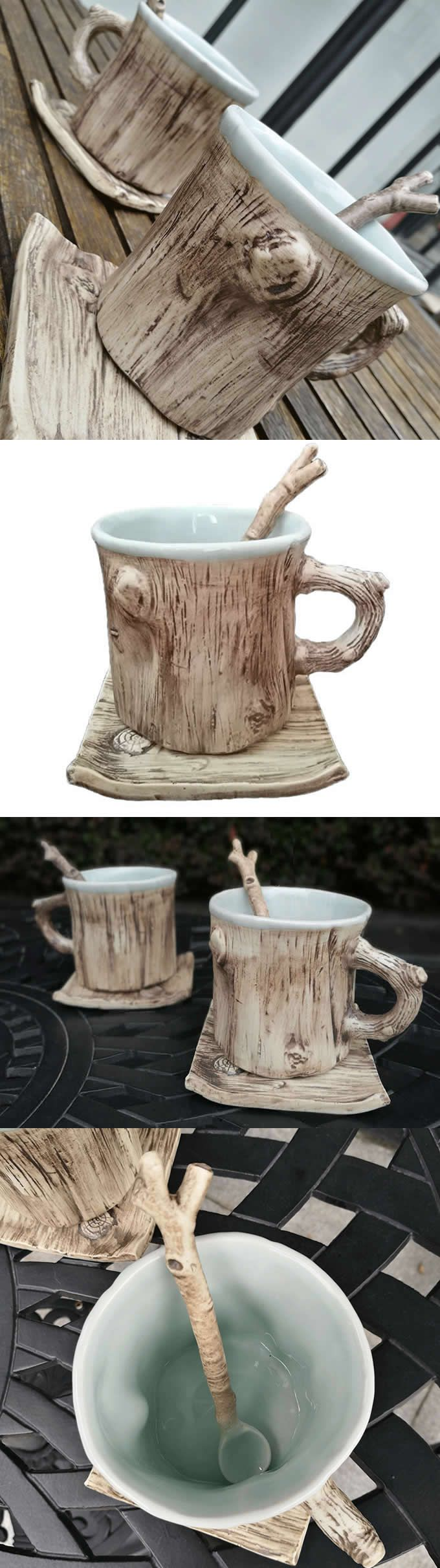 Personalized coffee mugs raleigh nc - Ceramic Tree Bark Coffee Mug With Saucer Looks Like A Tree Trunk