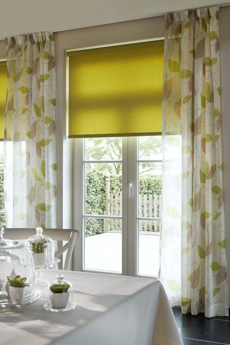 gordijnen in stof nala groen en rolgordijn in appelgroen vraag gratis kleurstalen aan bij. Black Bedroom Furniture Sets. Home Design Ideas
