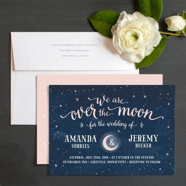 Over the Moon Wedding Invitation by Emily Crawford at elli.com