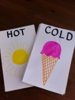 Hot-Cold DIY cards plus how to play and opposite game