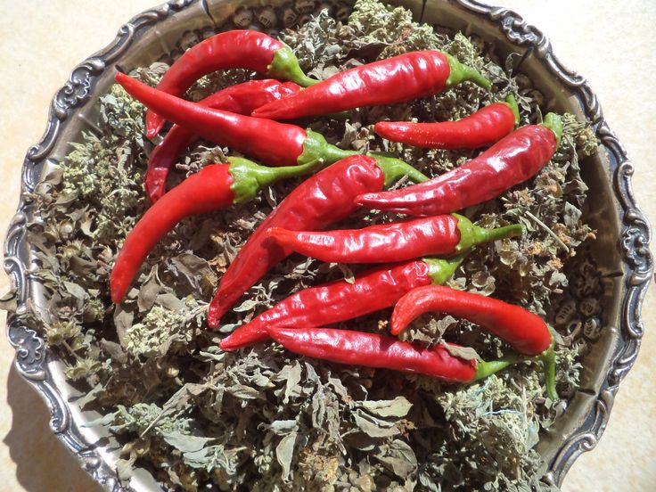 Chilly peppers drying on a bed o f basil. __©Peggy Carajopoulou-Vavali