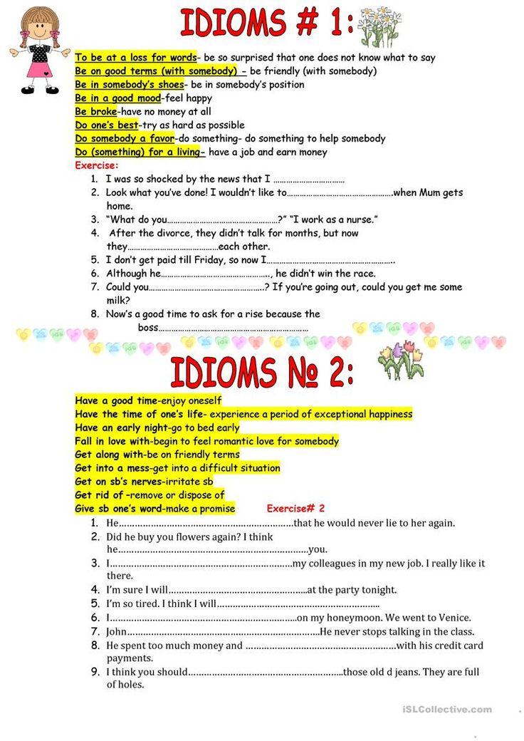 84 besten Idiom exercises Bilder auf Pinterest | Redewendungen ...