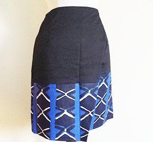 Jupe portefeuille bi-matiere Azur de la boutique EthnikMod sur Etsy
