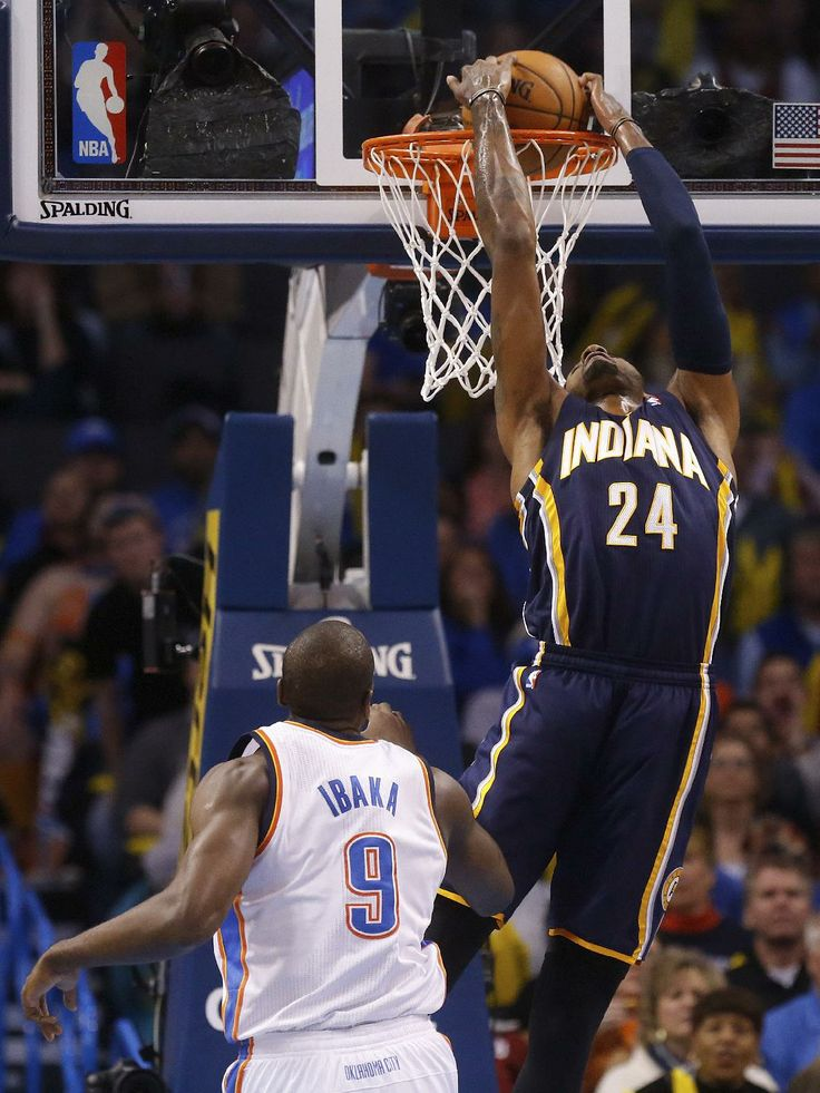 22 best paul george images on pinterest indiana pacers basketball indiana pacers forward paul george dunks in front of oklahoma city thunder forward serge ibaka in the first quarter of an nba basketball game in oklahoma voltagebd Gallery