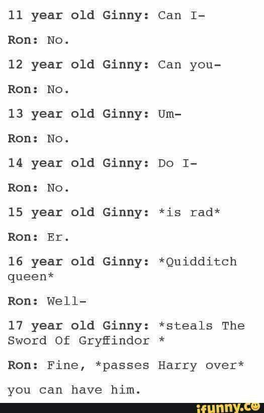 This makes me smile even though everyone knows Ginny would just take what she wants