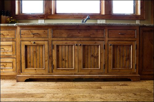 Knotty alder with custom bead board cabinet doors for Beadboard kitchen cabinets for sale