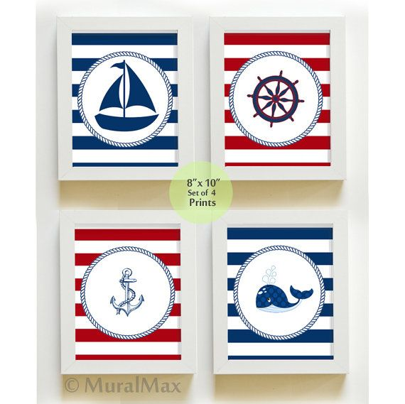 Nautical Nursery Art  Sail Boat Nursery Decor  by MuralMAX on Etsy, $48.00