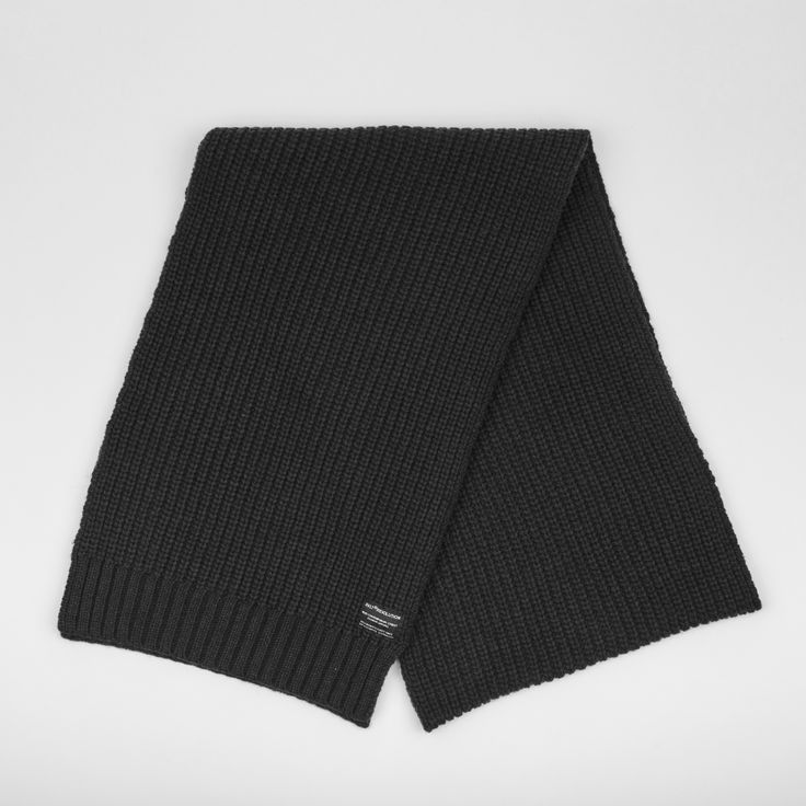RVLT - men's fashion. Black heavy wool blend scarf with knitted pattern to add detail, has til RVLT brand label.