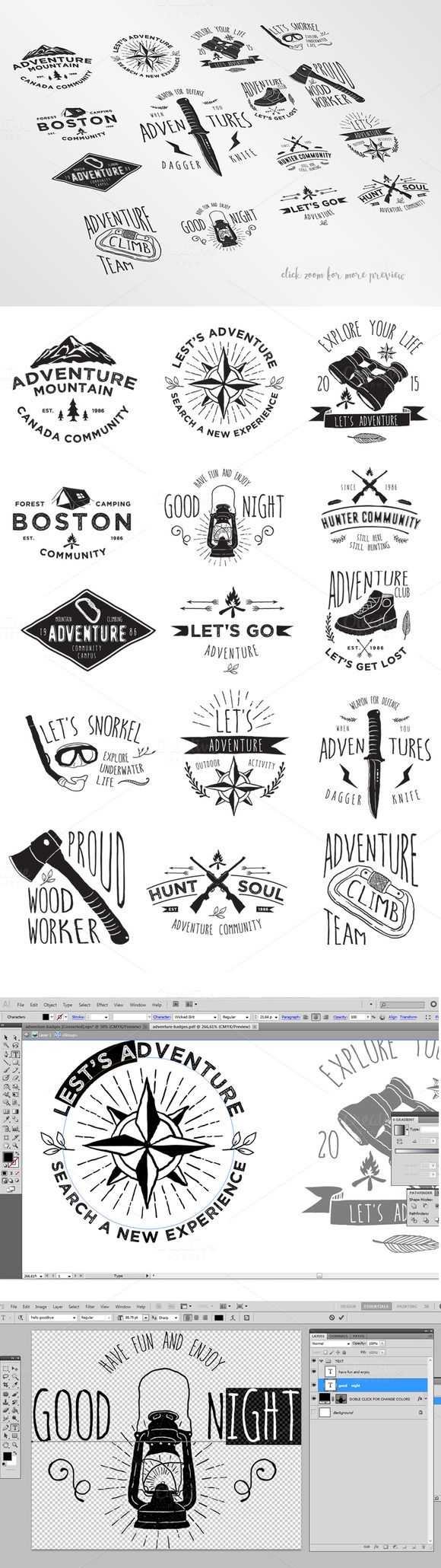 15 Adventure Badges by alit_design on Creative Market