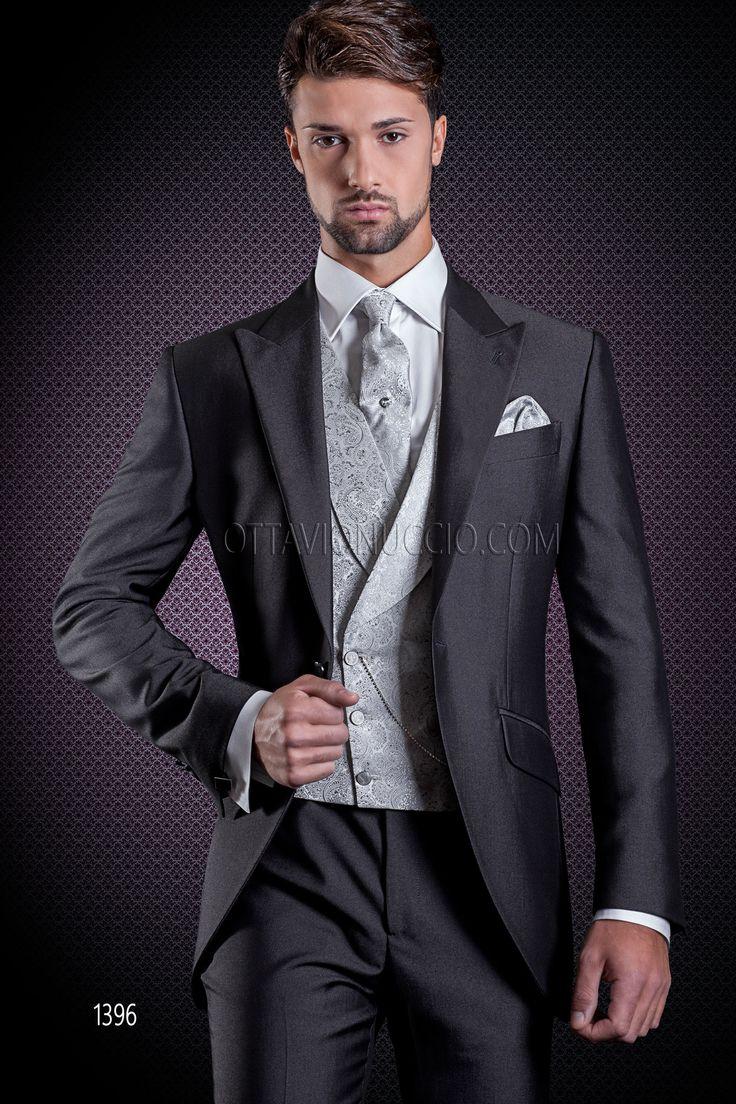 Dark grey wedding suit for groom with pearl grey jacquard double-breasted vest #bespoke #madeinitaly #weddingsuit #groomsuit #weddingtuxedo #groom #weddings #brideandgroom