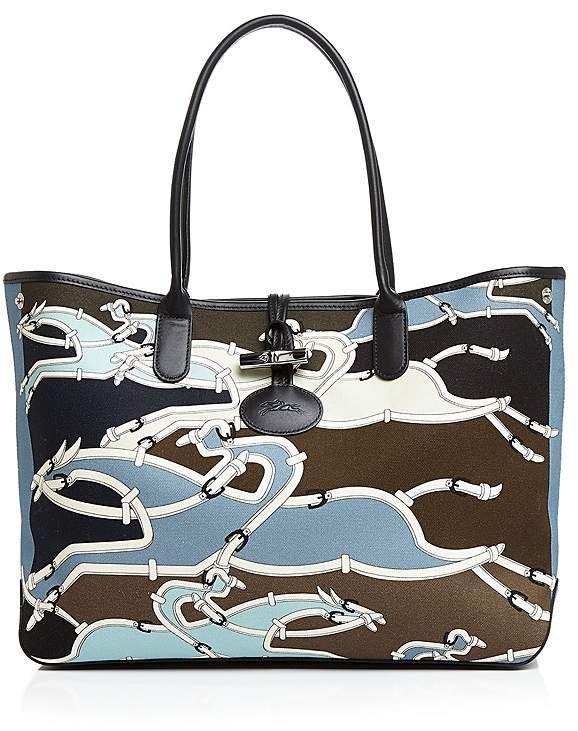 Longchamp Roseau Galop Large Canvas Shoulder Tote Handbags ...
