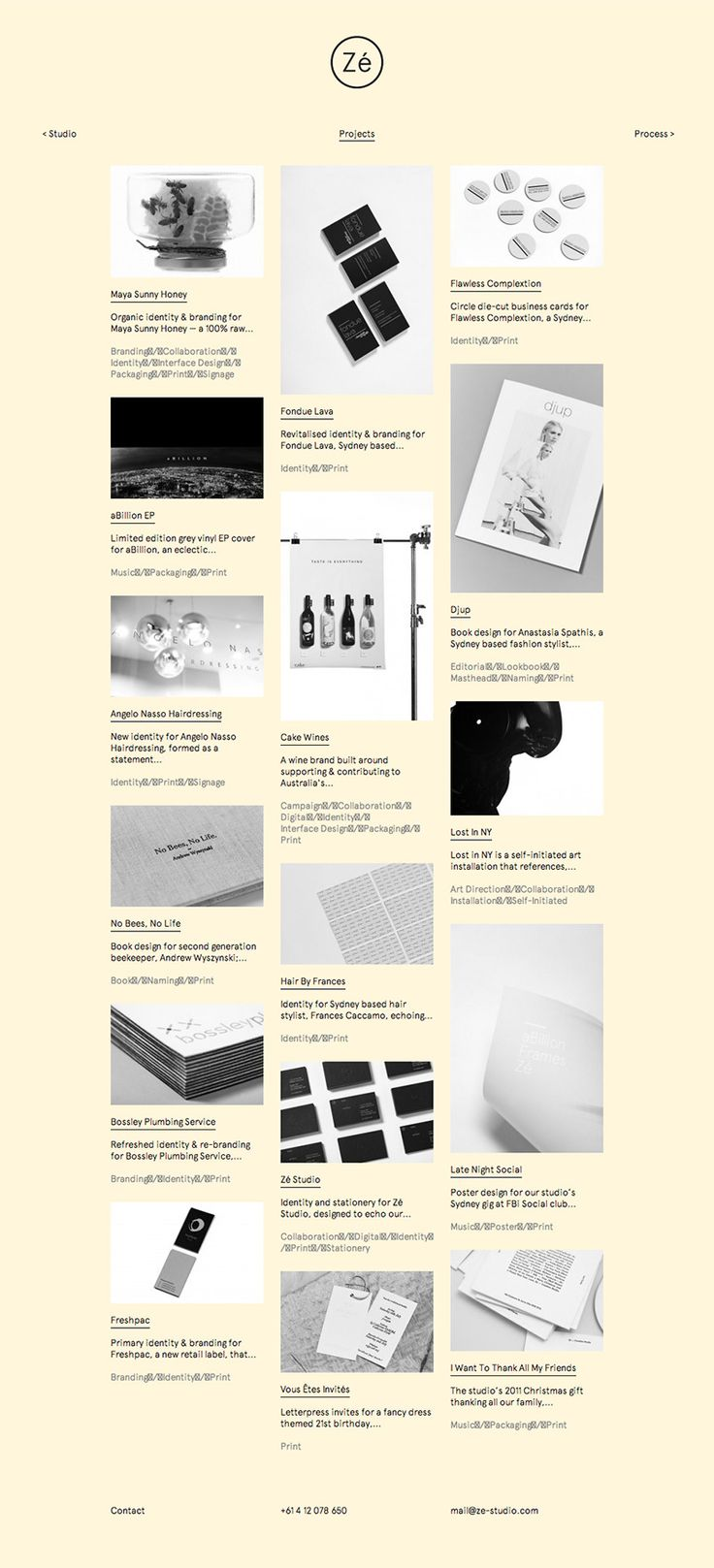 Zé Studio  Very doable solution for cargo collective. I like the clear titles and introductory descriptions underneath the thumbnails, might be nice if you have great descriptions of your work that provides insight into each project.