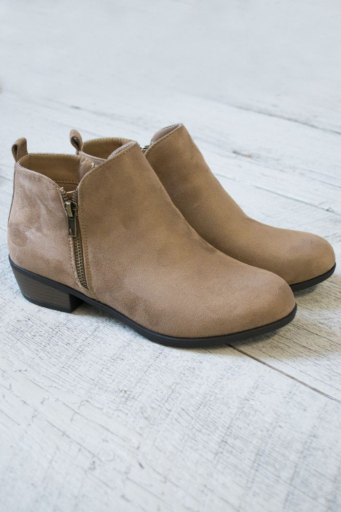"Amazing ankle bootie heels for any dress or jeans. Super cute with a heel that measures 1.5"" at the highest heel point. Zippers on both sides of shoe. Neutral in color to go with any amazing outfit yo"