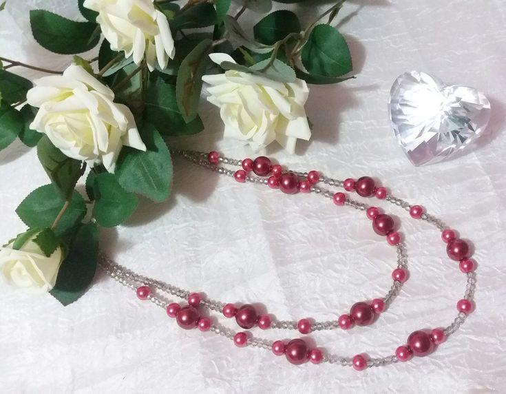 Collana realizzata con doppio filo di cristalli fumè e perle magenta di due diverse misure, by Katia Kreazioni, 12,00 € su misshobby.com