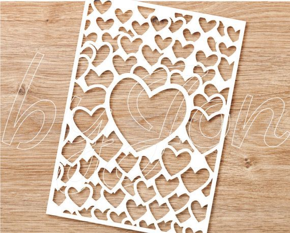 Valentines day card cut file template stencil for make you own. svg png jpg dxf eps pdf file formats