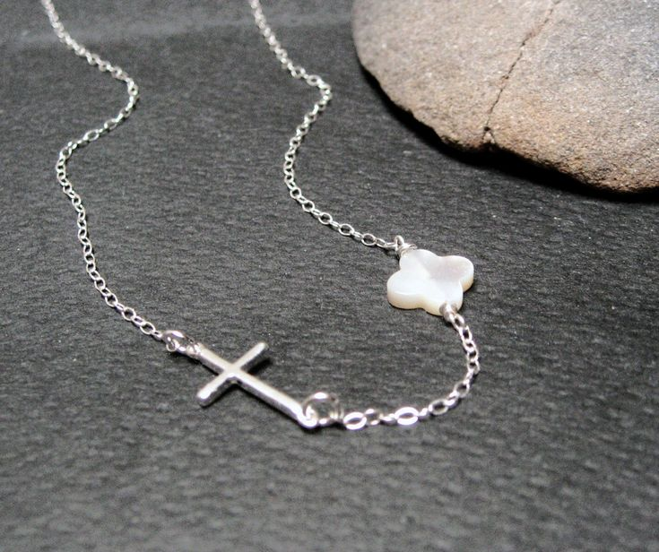 Side Cross Necklace, 925 Sterling Silver, MOP Clover Necklace, Sideways Cross Necklace, Christian Necklace, Protection Necklace