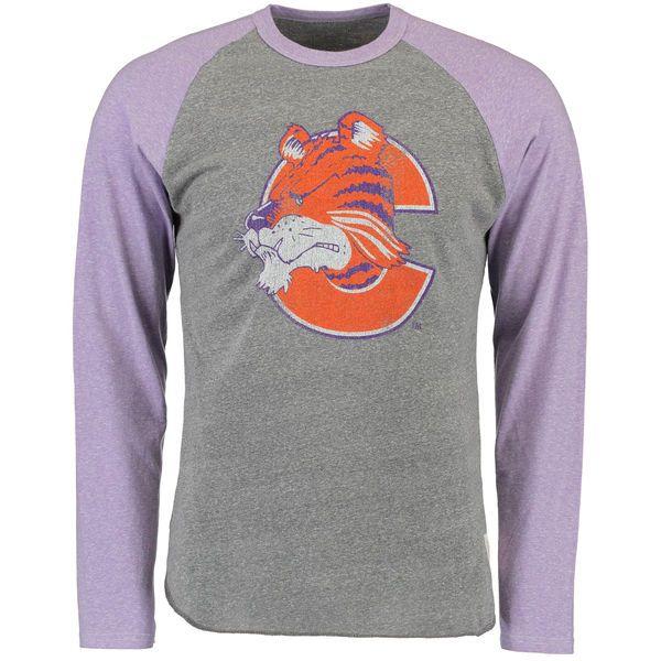 Clemson Tigers Original Retro Brand Vintage Tri-Blend Raglan Long Sleeve T-Shirt - Heathered Gray/Heathered Purple - $39.99