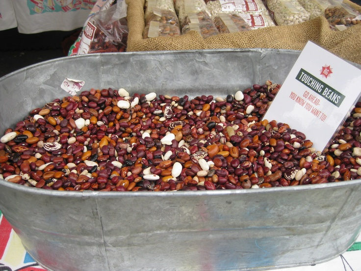 """Rancho Gordo Beans stand at Ferry Farmers Market, San Fran; I loved the sign; it said """"Go on, you know you want to!"""" and I did want to!!"""