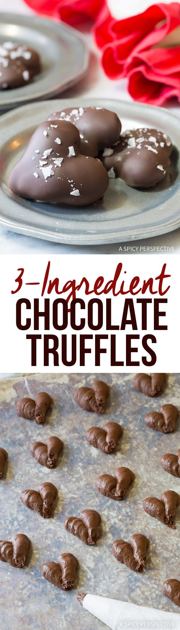 Easy 3-Ingredient Chocolate Truffle Recipe | ASpicyPerspective.com - Fabulous for Valentine's Day!