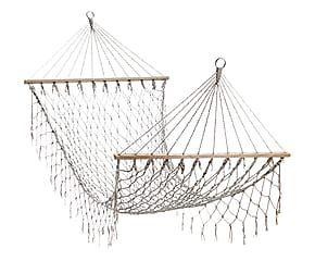 Amaca con rete larga e frangia in cotone Lulu' ecru' - 100x2x200 cm
