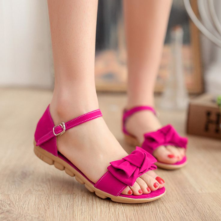 Bow Flats Sandals Ankle Straps Shoes Woman