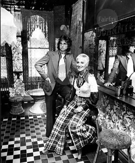 John Hemmes grew up in Indonesia and spent several years in a POW camp. In Sydney, with his wife Merivale, he became a style icon, running the clothing stores House of Merivale and Mr John. The couple is photographed in the bar of the Coffee Shop in their new Pitt Street location in Sydney, about 1969.