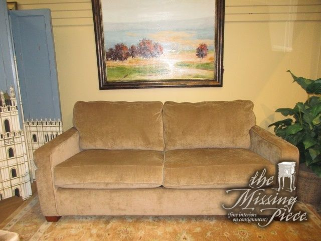 """Ashley transitional style queen sleeper sofa in a neutral camel upholstery. Would go well in an office or smaller living room. 79""""long x 38""""deep x 34""""high. Super reasonable price as well!"""