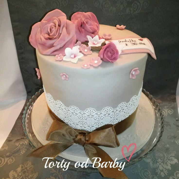 Flowers cake, staroružové, torta s kvetmi