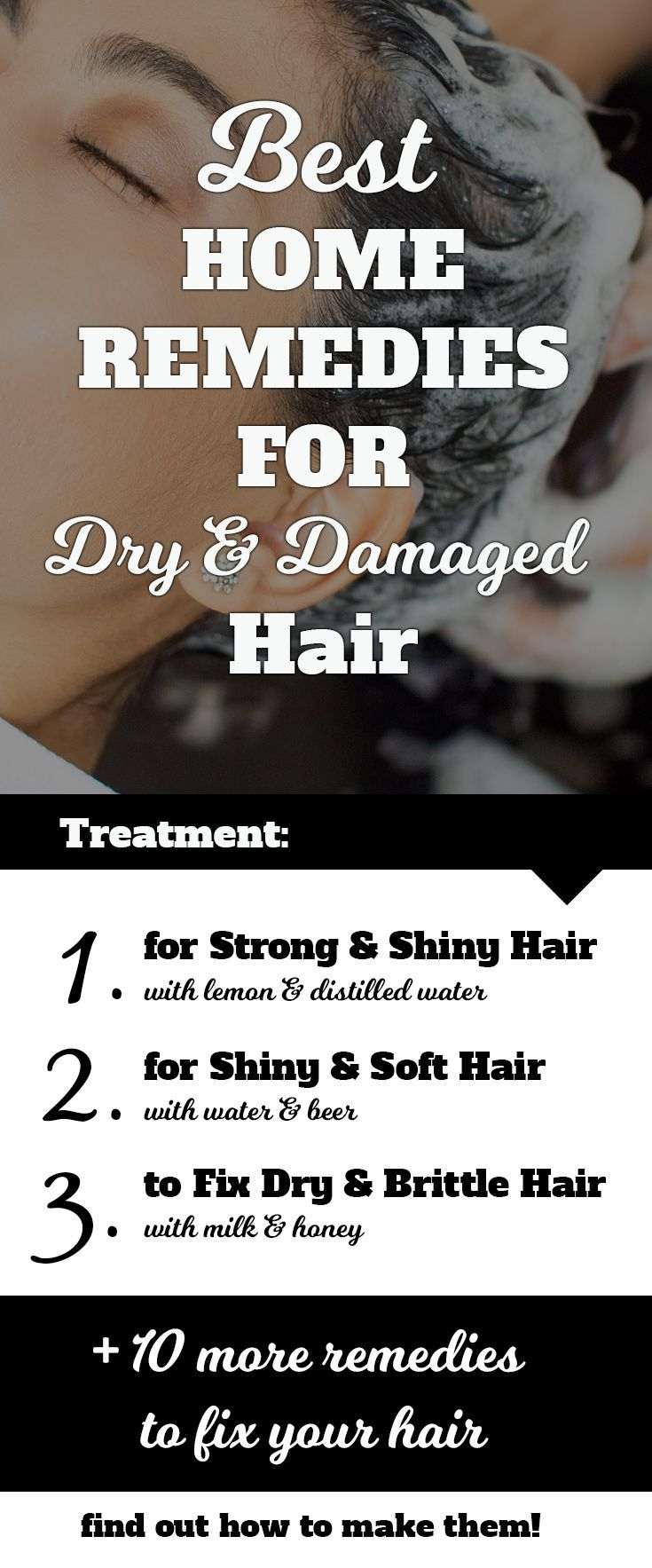 13 Best Home Remedies to Fix Dry & Damaged Hair. Make your own hair strenghtening treatment to enjoy strong and shiny hair, add softness to your hair and more. Affordable and easy to make home treatments to repair damaged hair. #hair #beauty #haircare