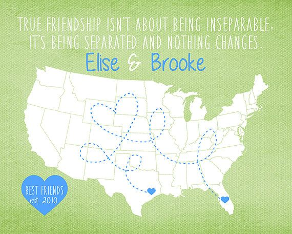 Friends Gifts, True Friendship Quote about Best Friend, Moving Gift, College Bestie Roommate, Pastel Green, Blue, Florida, Texas, USA Map