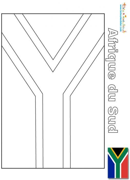 coloriage Afrique du Sud drapeau a colorier