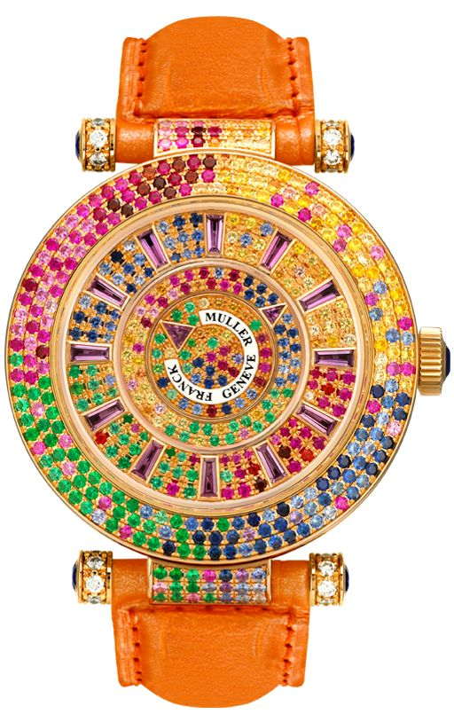 Franck Müller Geneve ~ Colour stones: Rubies, emerald, bleu sapphire, yellow sapphire, orange sapphire, Pink sapphire, violet sapphire, garnet tsavorite, garnet pyrope, garnet spessartite and amethyst ~ Dial: Set with 218 round diamonds (1.89 cts) and 14 baguette colour stones (1.49 cts) Case: Round – 18 carat rose gold set with 120 white diamonds (1.22 Cts)