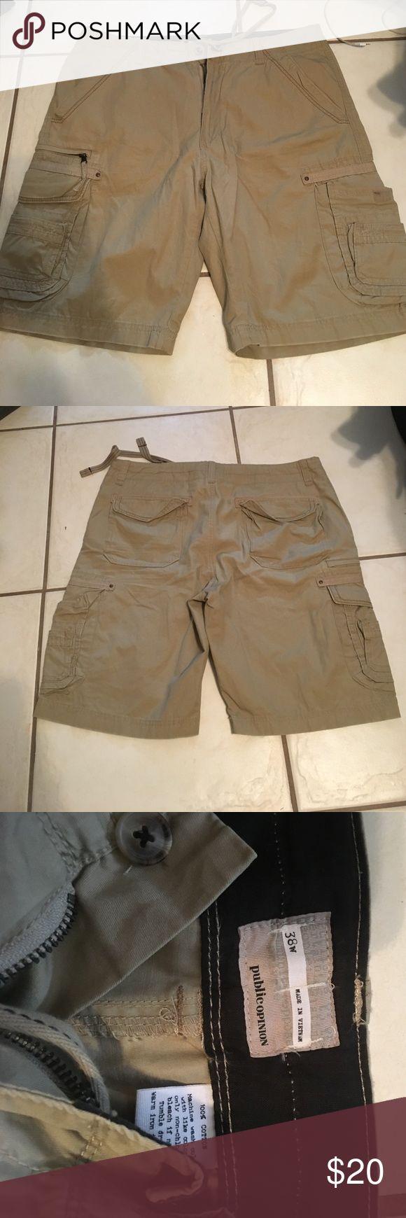 Public Opinion khaki cargo shorts Perfect condition! Size 38 public opinion Shorts Cargo