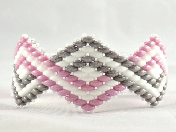 Pink, Grey and White Super Duo Beaded Bracelet                                                                                                                                                                                 More