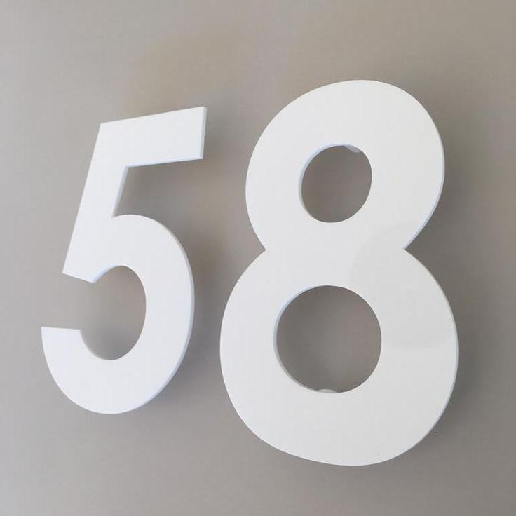 White Gloss, Floating Finish, House Numbers - Century Gothic Font