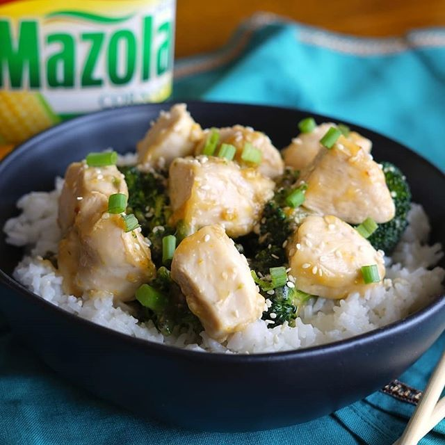 #ad This orange chicken stir fry is a healthy spin on a classic take out meal! Chicken, broccoli, and asparagus cooked together and topped with an incredible orange sauce featuring Mazola! #simpleswap Link to recipe in my bio! . . . #instagoodmyphoto #peoplescreatives #foodprnshare #foodblogeats #beautifulcuisines #thedailybite #huffposttaste #tastemade #feedfeed #f52grams #inmykitchen #thekitchn #cookit #foodwinewomen #eattheworld #buzzfeast #foodblogfeed #food #delicious…
