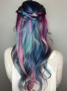 Pastel and Neon Hair Colors in Balayage and Ombre: Teal Hair