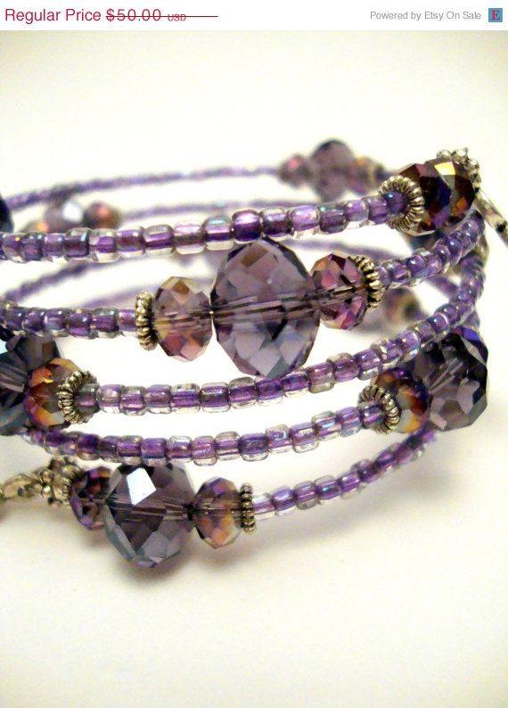 10  OFF SALE Purple Crystal Memory Wire Bracelet  Amethyst Crystal Beaded Bracelet  Miyuki Seed Beads   45 00  via Etsy