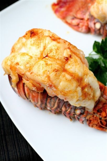 Broiled Lobster Tails with Garlic Butter Sauce