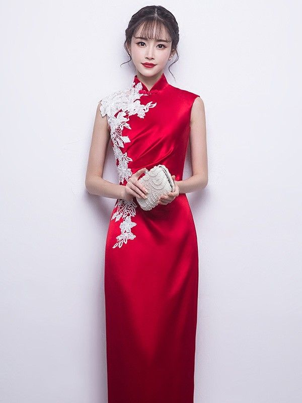 fd105e9318 Colorblocked Lace Trim Qipao   Cheongsam Prom Dress Chinese Clothing