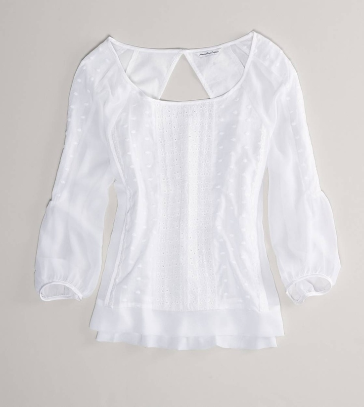 AE Eyelet Top.  Okay, so it's fairly sheer and doesn't necessarily lend itself to a skirt pairing, but... with a white cami underneath and a structured skirt (or go boho with a maxi), it could be perfect for paging duties (and then with jeans later- maybe with a bold-colored cami underneath).