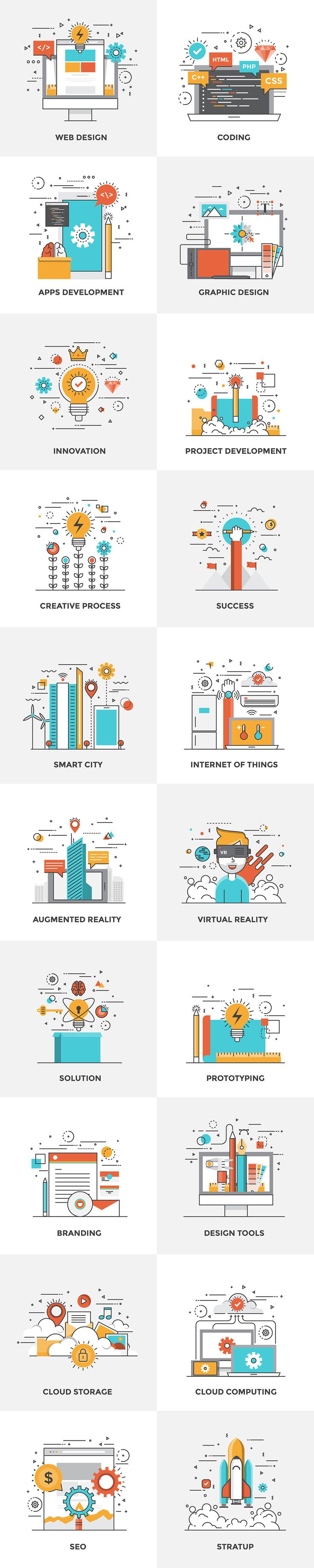 Set of Flat Color Line Design Concepts for creating amazing websites on various topics of Vr Glasses, Cloud Computing, Cloud Storage, Augmented Reality, Internet of Things, Smart city, Startup, Solutions, Prototyping, Web Design, Graphics Design, Tools, e…
